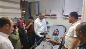 Başkan Kuş darp edilen personeli hastanede ziyaret etti