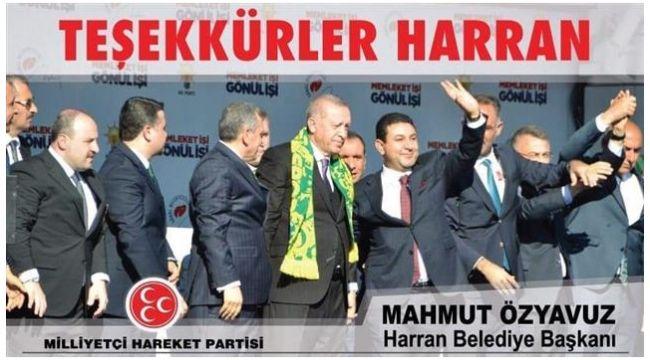 Başkan Özyavuz'dan teşekkür mesajı