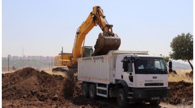 Karaköprü'de yol yapım çalışmaları sürüyor